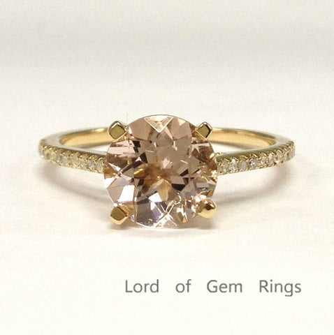 Round Morganite Engagement Ring Pave Diamond Wedding 14K Yellow Gold 8mm - Lord of Gem Rings