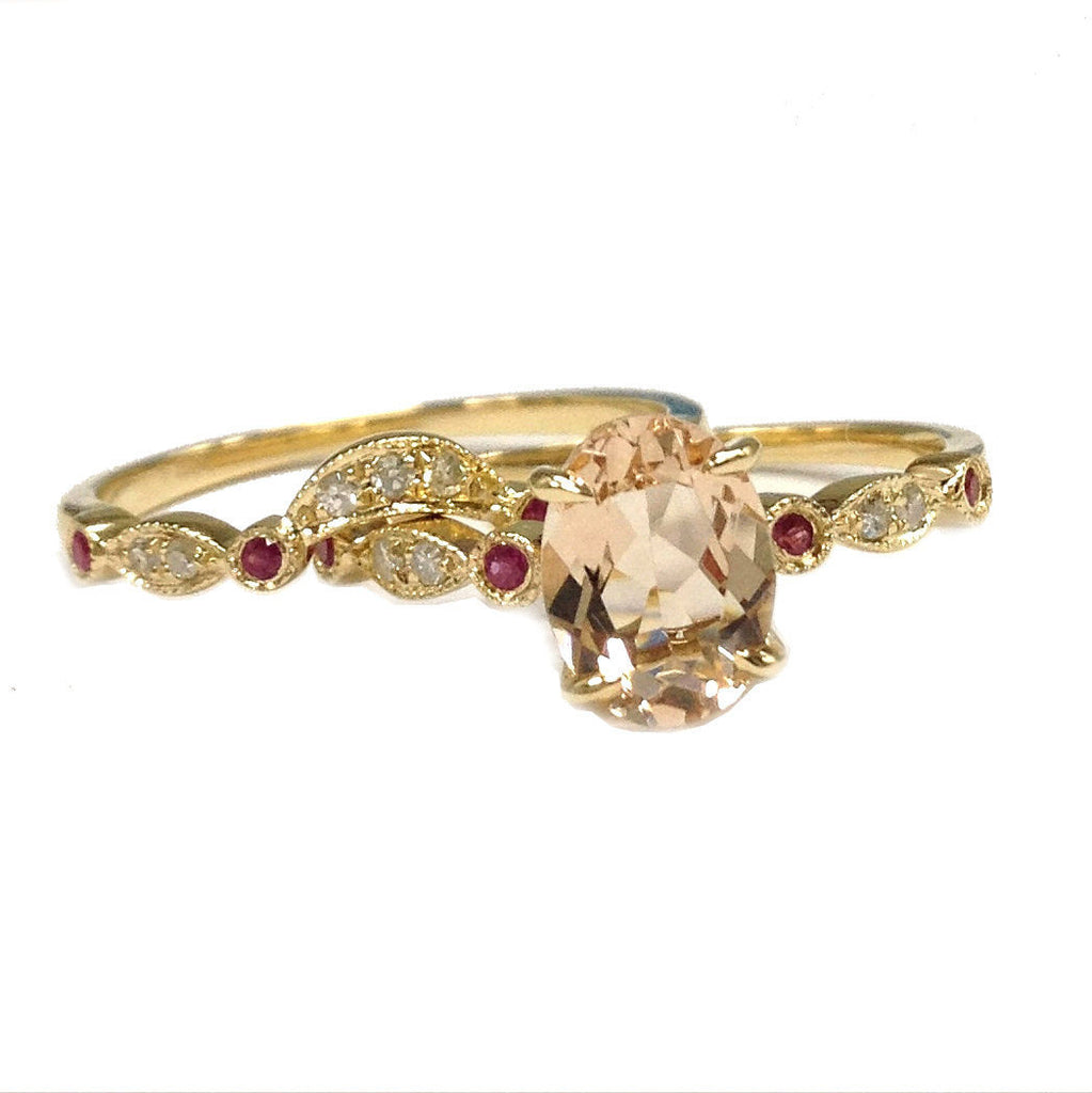 Oval Morganite Engagement Ring Sets Pave Diamond Ruby Wedding 14K Yellow Gold 6x8mm Curved Band - Lord of Gem Rings - 1