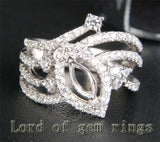 Diamond Engagement Semi Mount Ring 14K White Gold Setting Marquise 4x8mm - Lord of Gem Rings - 1