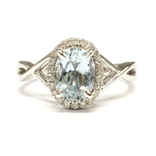 Oval Aquamarine Engagement Ring Pave Diamond Halo 14K White Gold,6x8mm - Lord of Gem Rings - 1