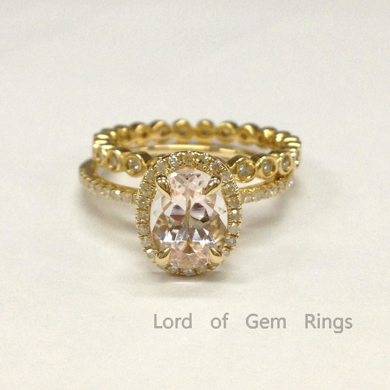 Oval Morganite Engagement Ring Sets Diamonds 14K Yellow Gold 6x8mm Bezel Set Wedding Band - Lord of Gem Rings - 1