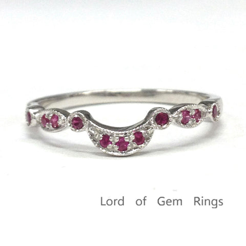 Red Rubies Wedding Band Half Eternity Anniversary Ring 14K White Gold Milgrain Art Deco Antique Curved - Lord of Gem Rings - 1