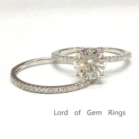 Round Moissanite Engagement Ring Sets Pave Diamond Wedding 14K White Gold 6.5mm - Lord of Gem Rings - 1
