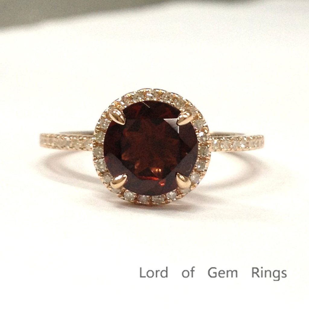 Round Garnet Engagement Ring Pave Diamond Wedding 14K Rose Gold 7mm Claw Prongs - Lord of Gem Rings