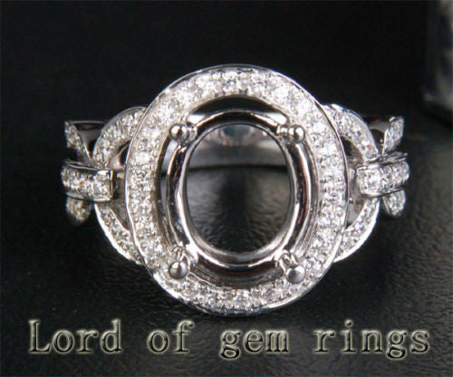 HEAVY 8x10mm Oval Cut Pave .38ct Diamonds Wedding Semi Mount Ring in 14K White Gold - Lord of Gem Rings - 1