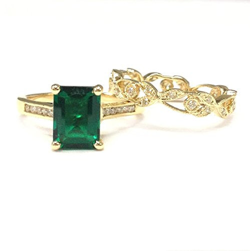 Emerald Shape Emerald Engagement Ring Sets Pave Diamond Wedding 14K Yellow Gold,6x8mm,Vintage Band - Lord of Gem Rings - 1