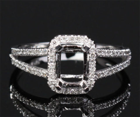 Diamond Engagement Semi Mount Ring 14K White Gold Setting Emerald Cut 5x7mm - Lord of Gem Rings - 1
