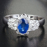 Oval Blue Sapphire Engagement Ring Diamond Wedding 14K White gold 1.42CT - Lord of Gem Rings - 1