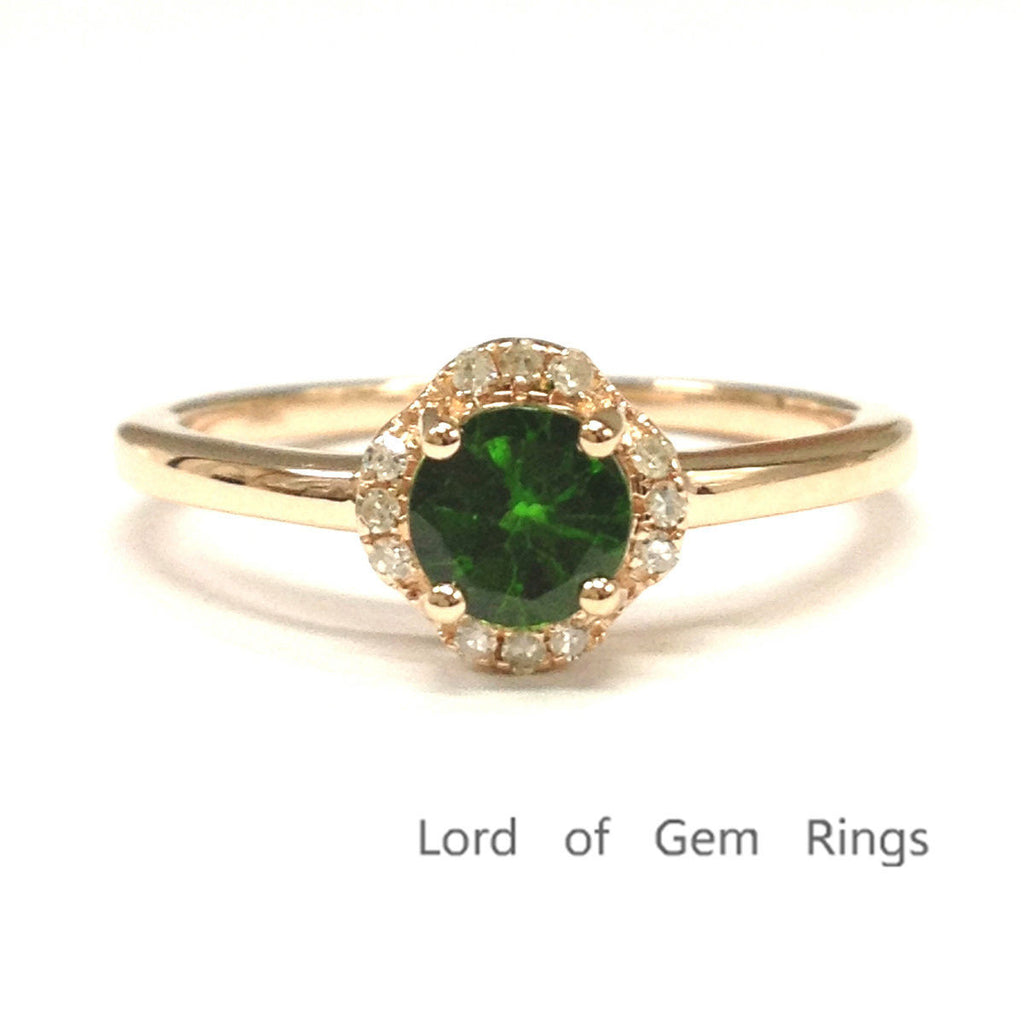 Round Green Tsavorite Engagement Ring Diamond Wedding 14K Rose Gold 5mm - Lord of Gem Rings - 1