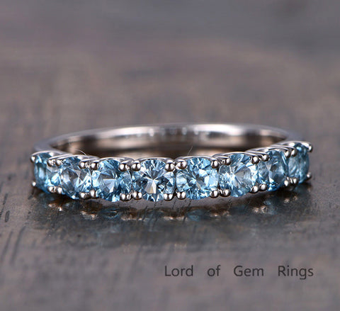 Blue Topaz Wedding Band Half Eternity Anniversary Ring 14K White Gold - Lord of Gem Rings - 1