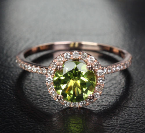Round Peridot Engagement Ring Pave Diamond Wedding 14k Rose Gold 7mm - Lord of Gem Rings - 1