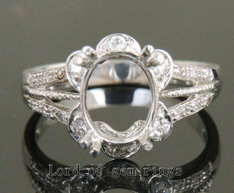 Diamond Engagement Semi Mount Ring 14K White Gold Setting Oval 7.5x9.5mm - Lord of Gem Rings - 1