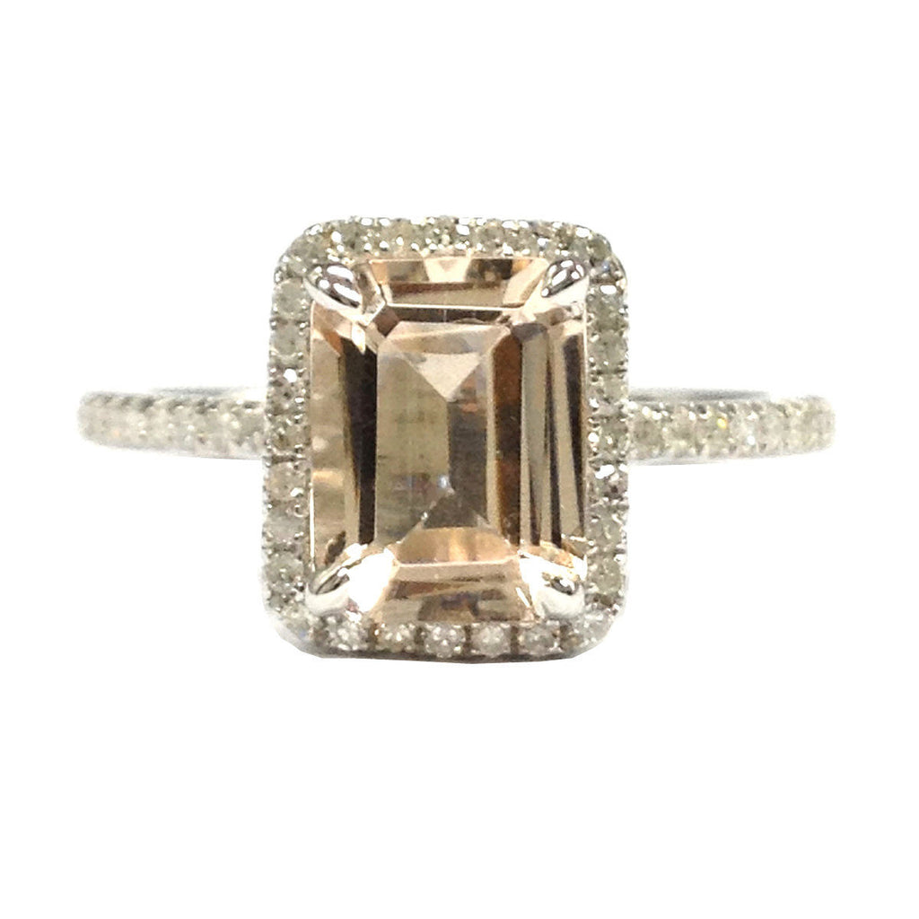 Emerald Cut Morganite Engagement Ring Pave Diamond Wedding 14K White Gold 6x8mm CLAW PRONGS Solid - Lord of Gem Rings - 1