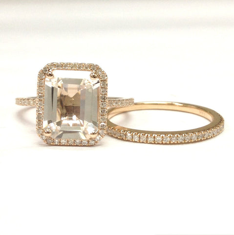 Emerald Cut White Topaz Engagement Ring Sets Pave Diamond Wedding 14K Rose Gold 8x10mm - Lord of Gem Rings - 1