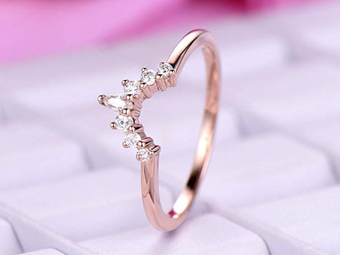 Round/Marquise Diamond Tiara Wedding Ring 14K Rose Gold