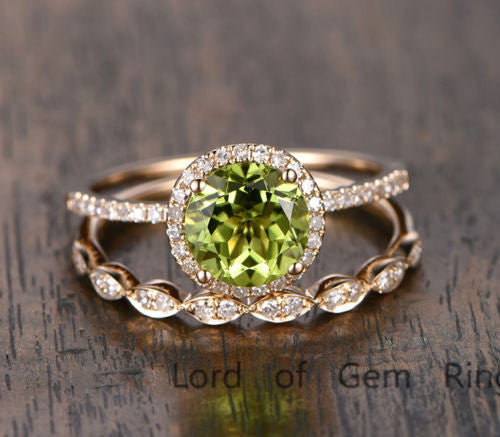 Round Peridot Engagement Ring Sets Pave Diamond Wedding 14K Yellow Gold 7mm - Lord of Gem Rings - 1