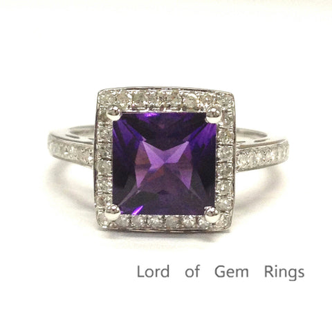 Princess Amethyst Engagement Ring Pave Diamond Wedding 14K White Gold 7mm - Lord of Gem Rings - 1