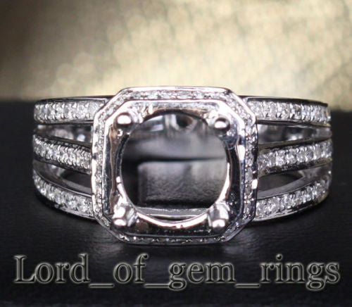 Diamond Engagement Semi Mount Ring 14K White Gold Setting Round 9mm - Lord of Gem Rings - 1