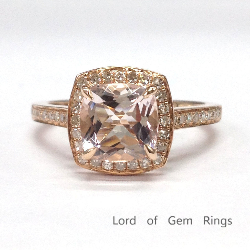Cushion Morganite Engagement Ring Pave Diamond Wedding 14K Rose Gold 7mm - Lord of Gem Rings - 1