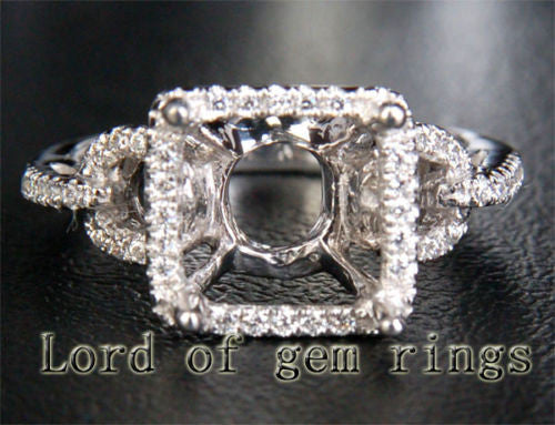Diamond Engagement Semi Mount Ring 14K White Gold Setting Princess 7.5-8mm - Lord of Gem Rings - 1