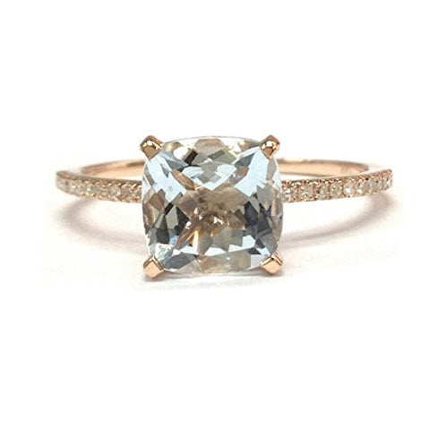 Cushion Aquamarine Engagement Ring Pave Diamond Wedding 14K Rose Gold,8mm - Lord of Gem Rings - 1