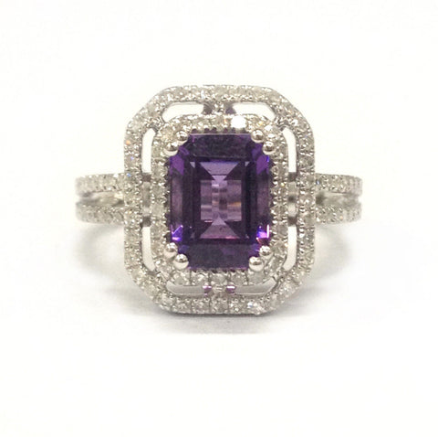 Emerald Cut Amethyst Engagement Ring Pave Diamond Wedding 14K White Gold 6x8mm - Lord of Gem Rings - 1