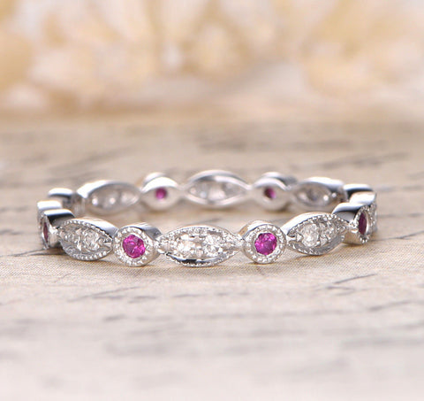 Ruby Diamond Wedding Band Eternity Anniversary Ring 14k White Gold Art Deco - Lord of Gem Rings - 1