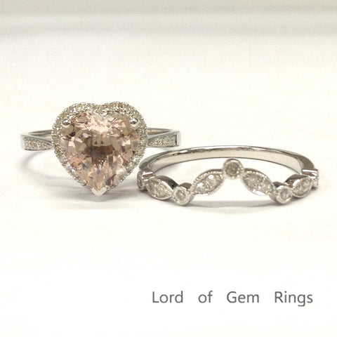 Heart Shape Morganite Engagement Ring Sets Pave Diamond Wedding 14K White Gold Curved Band 8mm - Lord of Gem Rings - 1