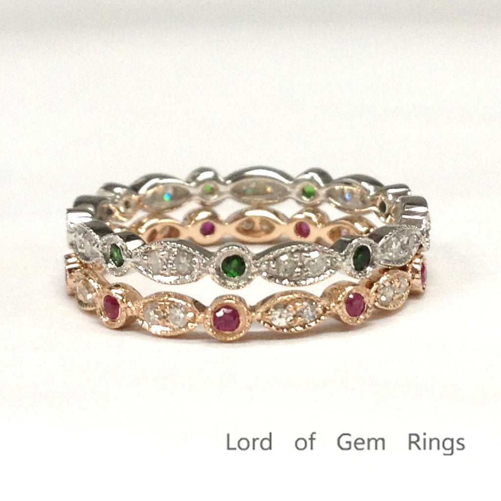 Ruby & Emerald Diamond Wedding Band Sets Eternity Anniversary Ring 14K Rose&White Gold Art Deco - Lord of Gem Rings - 1