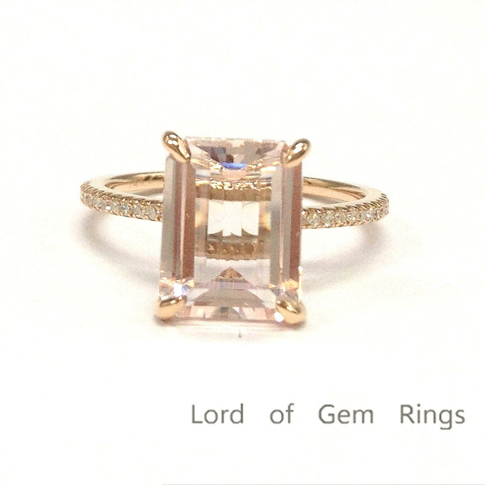 Emerald Cut Morganite Engagement  Ring Pave Diamond Wedding 14K Rose Gold 8x10mm - Lord of Gem Rings - 1