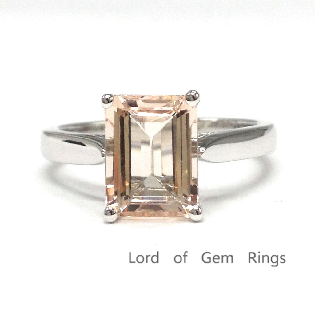 Emerald Cut Morganite Engagement Ring 14K White Gold 7x9mm Solitaire - Lord of Gem Rings - 1
