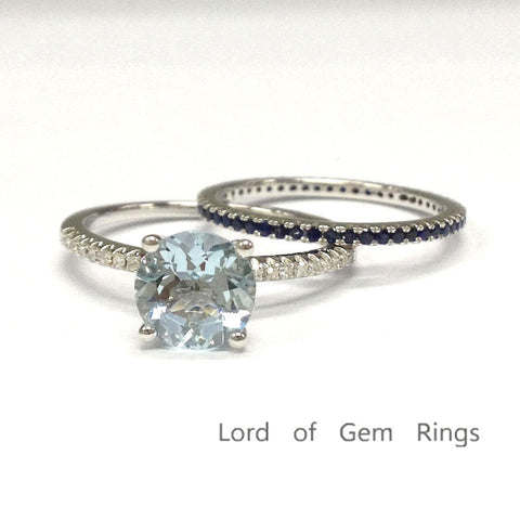 Round Aquamarine Engagement Ring Sets Eternity Sapphire Band 14K White Gold 7mm - Lord of Gem Rings - 1