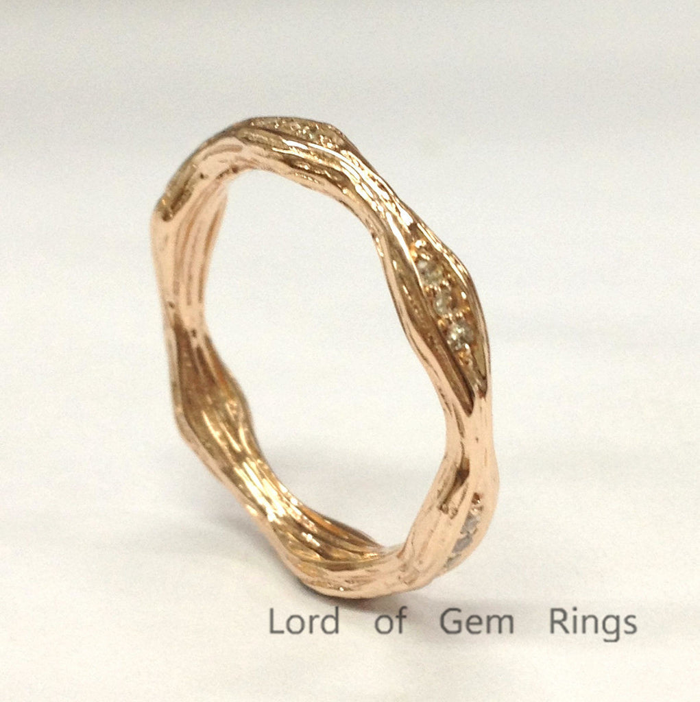 Pave Diamond Wedding Band Eternity Anniversary Ring 14K Rose Gold Art Deco Hand Crafted Twig - Lord of Gem Rings - 1