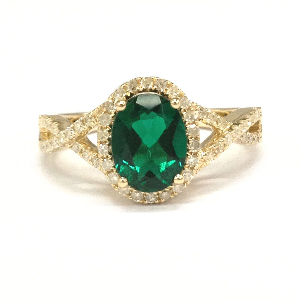 Oval Emerald Engagement Ring Pave Diamond Wedding 14K Yellow Gold 7x9mm - Lord of Gem Rings - 1