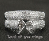 Diamond Engagement Semi Mount Ring Sets 14K White Gold Setting Round 8mm - Lord of Gem Rings - 1