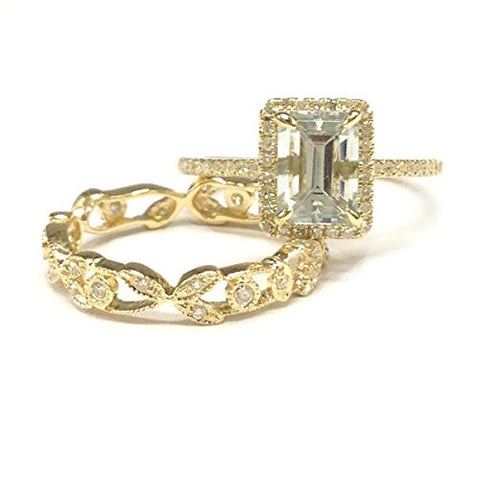 Emerald Cut Aquamarine Engagement Ring Sets Pave Diamond Wedding 14K Yellow Gold,5x7mm,Vintage Band - Lord of Gem Rings - 1