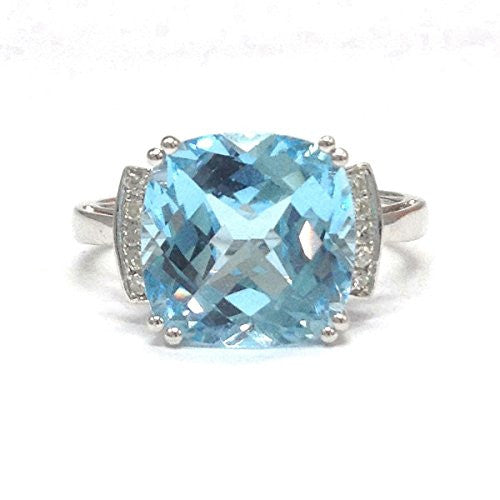 Cushion Blue Topaz Engagement Ring Pave Diamond Wedding 14K White Gold,11mm - Lord of Gem Rings - 1