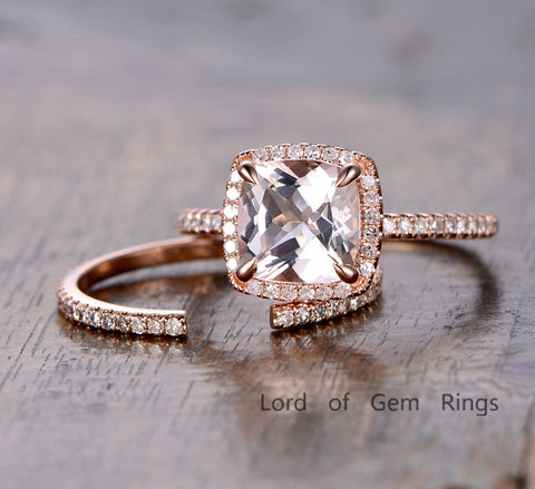 Cushion Morganite Engagement Ring Sets Pave Diamond Wedding 14K Rose Gold 8mm - Lord of Gem Rings - 1