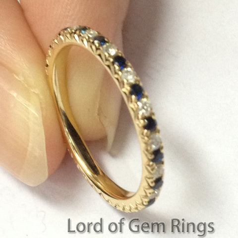Blue Sapphire Diamond Wedding Band Eternity Anniversary Ring 18K Yellow Gold - V Prongs - Lord of Gem Rings - 1