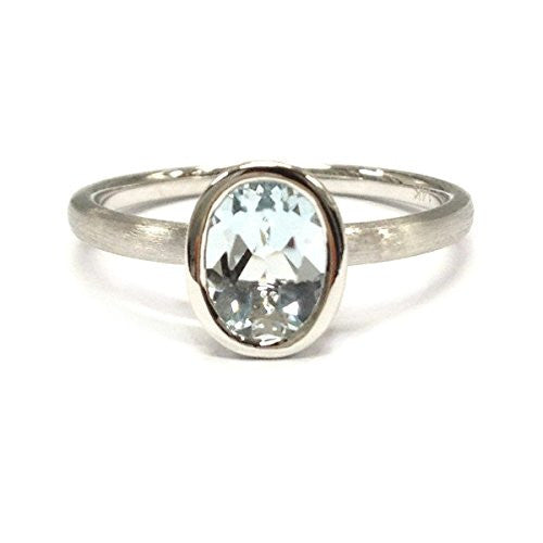 Oval Aquamarine Engagement Ring 14K White Gold,6x8mm,Solitaire - Lord of Gem Rings - 1