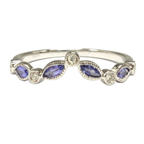 Marquise Tanzanite Moissanite Wedding Band Half Eternity Anniversary Ring 14K White Gold Art Deco - Lord of Gem Rings - 1