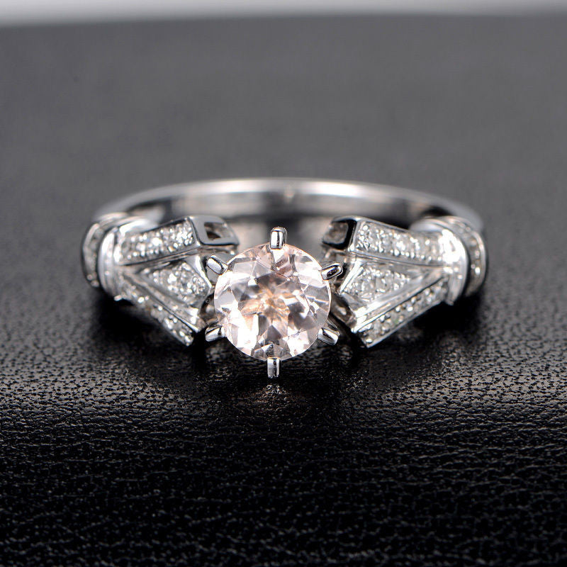Round Morganite Engagement Ring Diamond Wedding 14K White Gold 6.5mm Antique Art Deco,6 prongs - Lord of Gem Rings - 1