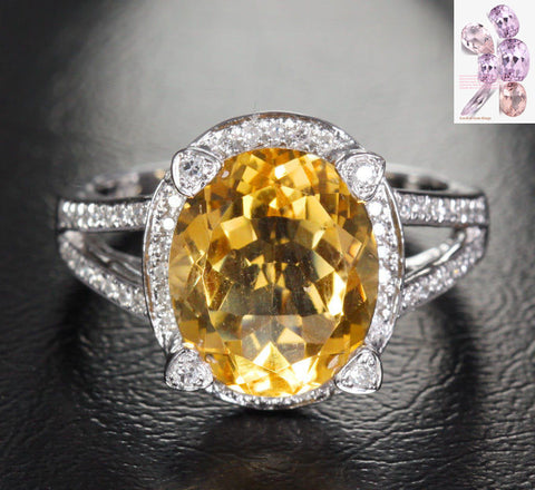 Oval Citrine Engagement Ring Pave Diamond Halo 14K White Gold 10x12mm - Lord of Gem Rings - 1