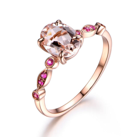 Oval Morganite Engagement Ring Pave Ruby Wedding 14K Rose Gold 6x8mm  Art Deco - Lord of Gem Rings - 1