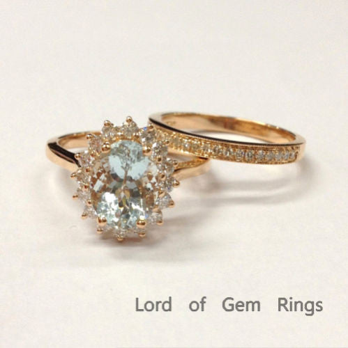 Oval Aquamarine Engagement Ring Sets VS Diamond Wedding 14K Rose Gold 7x9mm - Lord of Gem Rings - 1