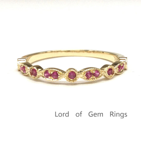 Red Ruby Wedding Band Half Eternity Anniversary Ring 14K Yellow Gold  Art Deco - Lord of Gem Rings - 1