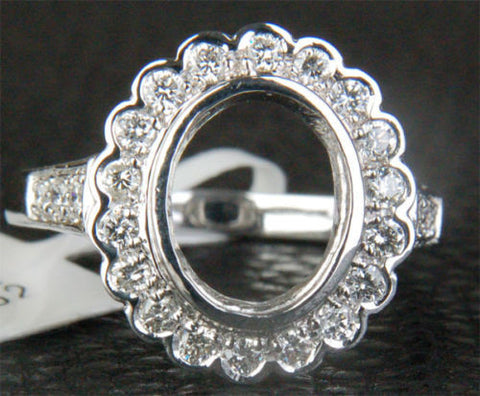 Diamond Engagement Semi Mount Ring 14K White Gold Oval 7.5x9.5mm Bezel Halo - Lord of Gem Rings - 1