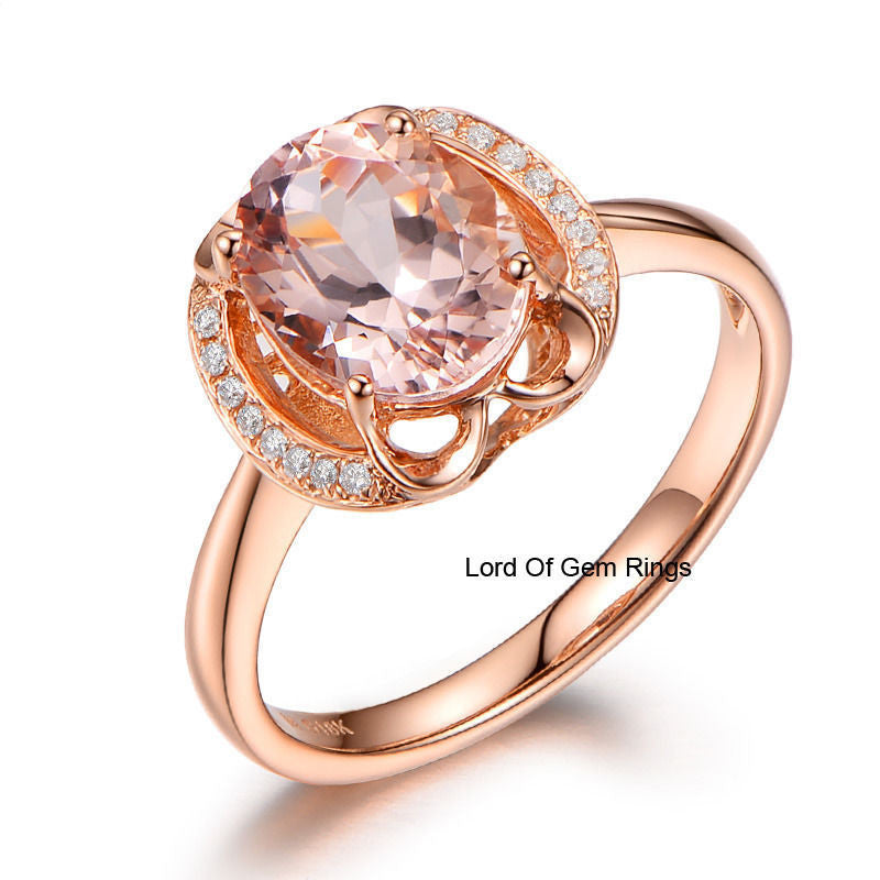 Oval Morganite Engagement Ring VS Diamond 14K Rose Gold 7x9mm  Floral - Lord of Gem Rings - 1