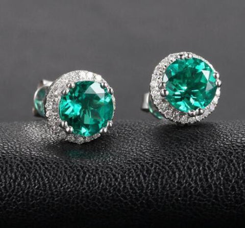 Round Green Emerald Stud Earrings Diamonds Halo 14K White Gold 7mm - Lord of Gem Rings - 1