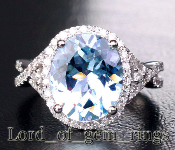 Oval Aquamarine Engagement Ring Pave Diamond Wedding 14K White Gold,10x13mm - Lord of Gem Rings - 1